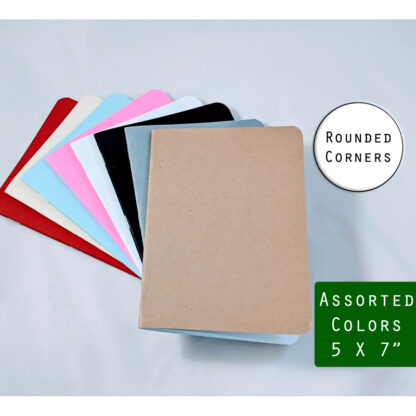 mid-sized 5x7 inch notebooks with rounded corners
