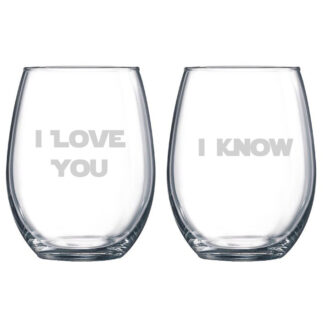 Star Wars inspired I love you I know stemless wine glasses