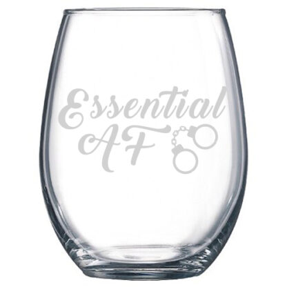 essential af stemless wine glass police officer