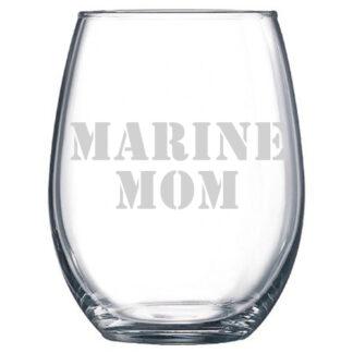 Marine Mom Wine Glass