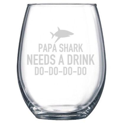 Papa shark wine glass