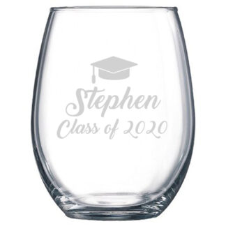personalized graduation stemless wine glasses