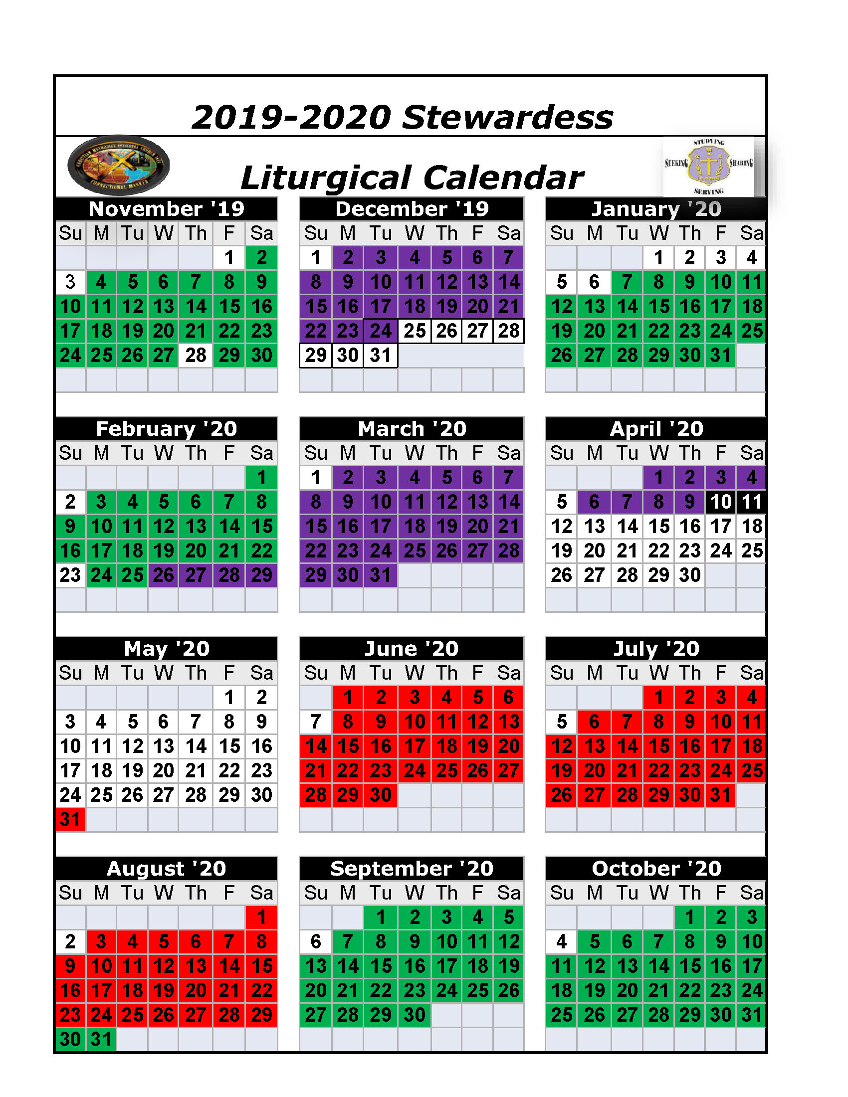 2019-2020 Stewardess Liturgical Calendar