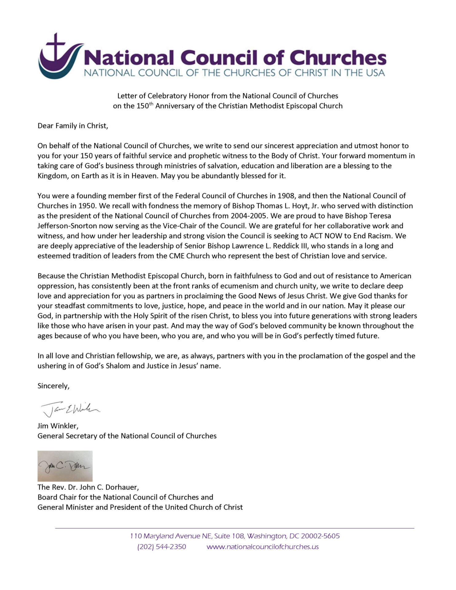 Letter Honoring CME 150 Anniversary from National Council of Churches