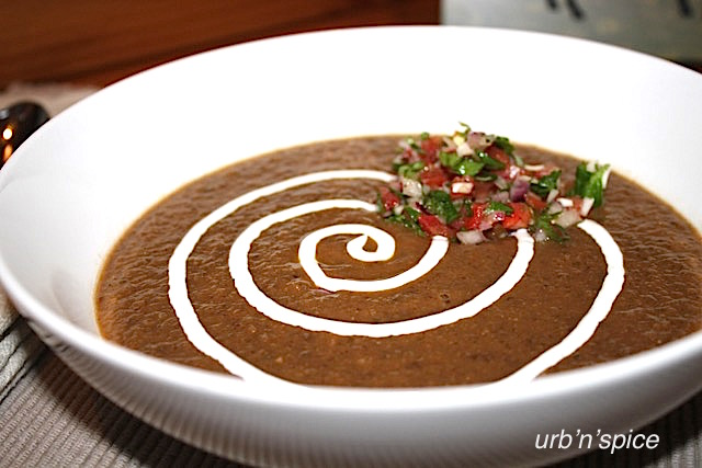 Hearty Black Bean Soup with Fresh Tomato Herb Salsa | urbnspice.com