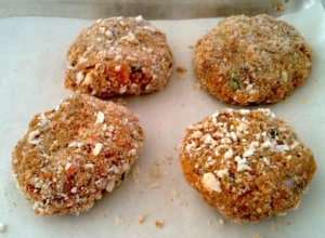 Rock Star Veggie Burgers are scooped and coated with gluten free panko crumbs | urbnspice.com