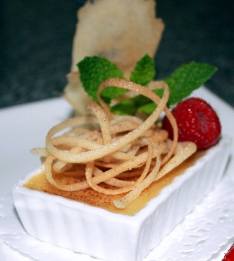 White Chocolate Crème Brûlée with a nutmeg tuile nest & lace cookie garnish | urbnspice.com