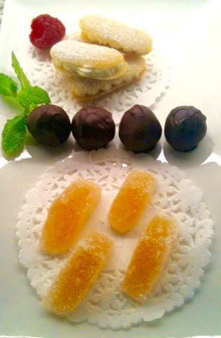 Rice Flour Tuile Paste is used to make a langue de chat cookie on a mignardise platter   urbnspice.com