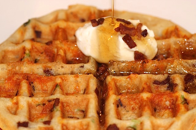 Savoury Crispy Bacon, Cheese and Green Onion Waffles | urbnspice.com