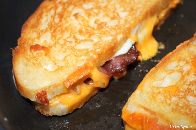 The first turn of the grilled cheese will be a light golden brown - it will caramelize with the second flip | urbnspice.com