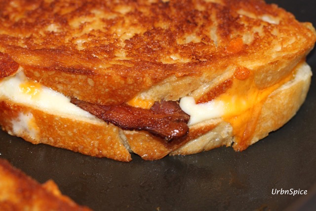 The Grilled Double Cheese Bacon Sandwich is caramelized to a golden brown | urbnspice.com