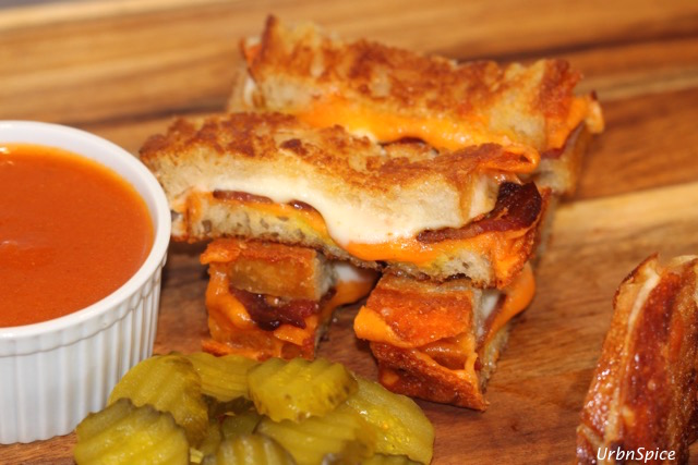 Grilled Double Cheese Bacon Sandwiches cut into fingers and stacked crosswise for fun | urbnspice.com