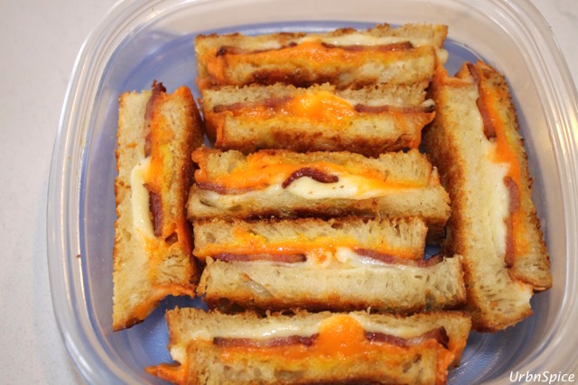 Leftover Grilled Double Cheese Bacon Sandwich fingers are excellent for lunch boxes | urbnspice.com