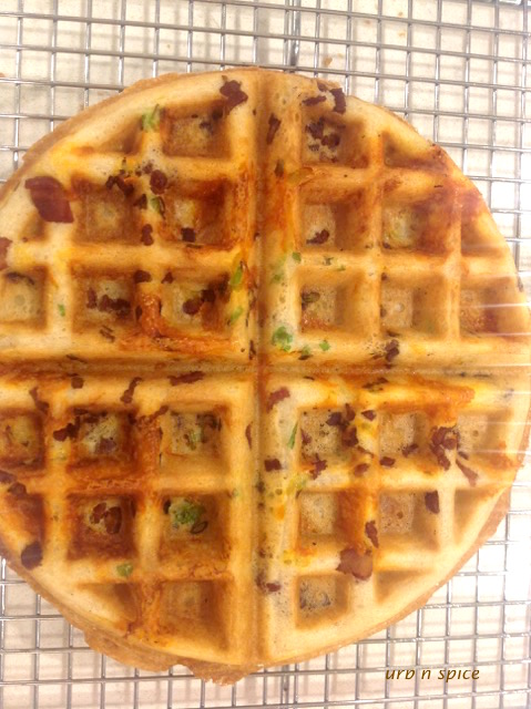 Savoury Waffle showing garnishes cooked into the waffle batter | urbnspice.com