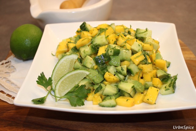 Mango, Avocado and Cucumber Salad with Lime Dressing | urbnspice.com