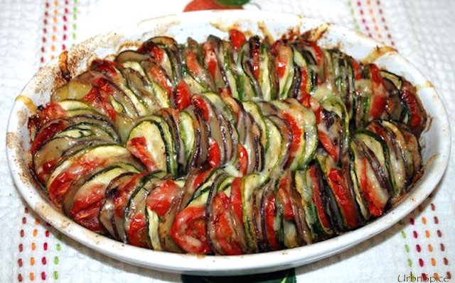 Vegetable Tian using tomato, zucchini and eggplant | urbnspice.com