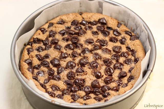 The Chocolate Cherry Almond Torte has cooled and slightly deflated | urbnspice.com
