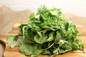 Power Greens: a blend of chard, kale, spinach | urbnspice.com