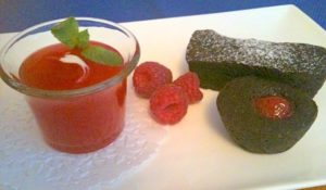 Chocolate Financiers with Cranberry Consommé   urbnspice.com