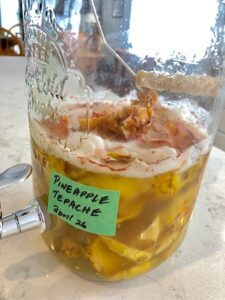Preparing the pineapple tepache is easily made with three simple ingredients