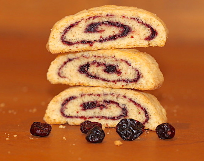A Stack of Biscotti with pinwheel filling | urbnspice.com