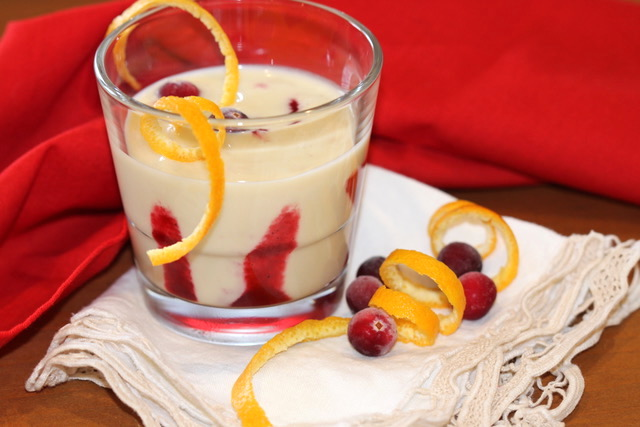 Closeup of White Chocolate Eggnog in a Glass | urbnspice.com
