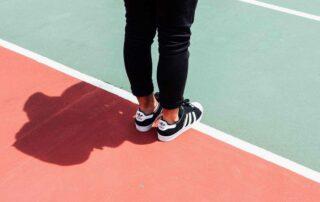 feet on a court