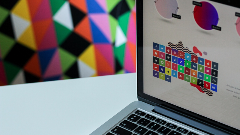 computer with colorful imagery