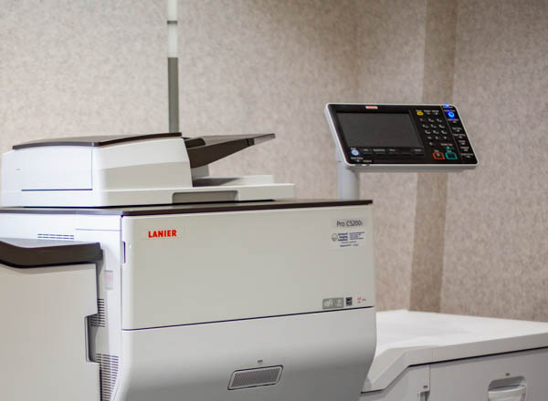 Close up of Lanier production printer