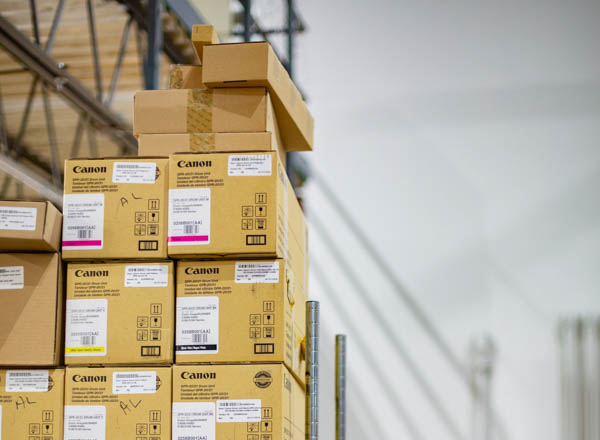 Canon print supplies in warehouse