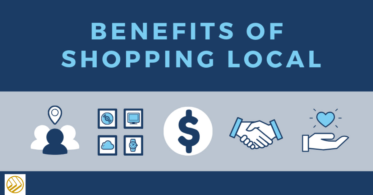 Five benefits of shopping local with icons