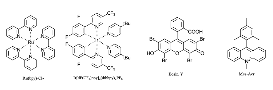 Provides molecular structure of four common photocatalysts