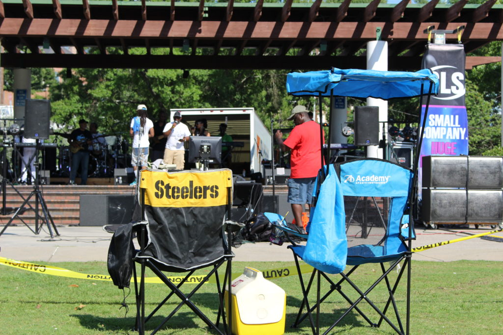 DJ Steele preparing for the Atlantic Starr Concert at Finlay Park in Columbia, SC