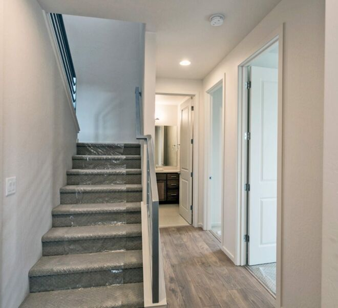 Stairway of a home in the Billings Ranch community of Ashland, Oregon