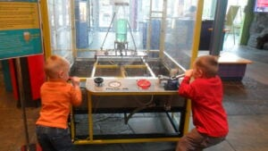 Kids learning about water rockets at science works hands on museum