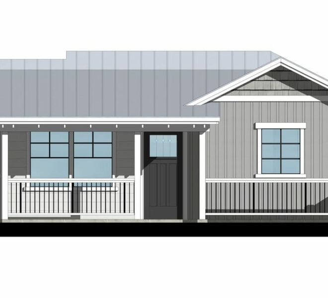 Rendering of a cottage at the Garden Cottages in Ashland, Oregon