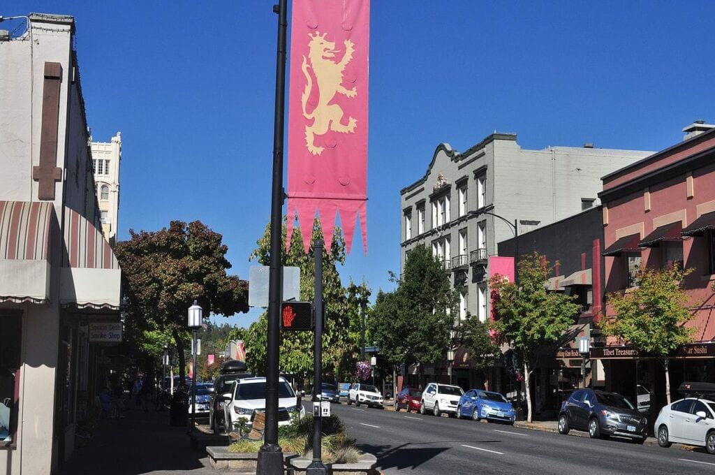 Downtown Ashland Oregon Looking Down E. Main St.