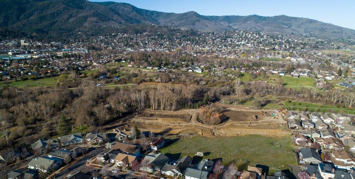 Aerial shot of the Kestrel Park Development in Ashland Oregon