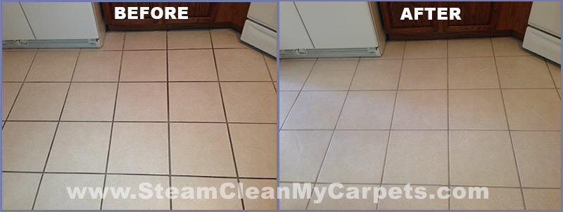 Kitchen Tile and Grout Before-After