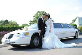nyc limo wedding car with couple