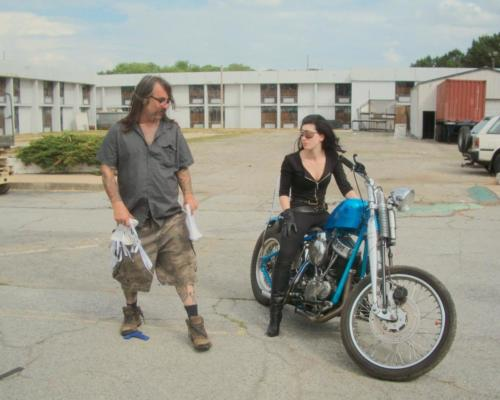 Director James Bickert with Tristan Risk - Frankenstein Created Bikers