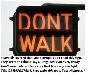 letter to guy crossing street - do not walk sign