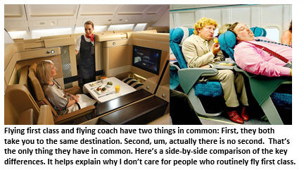 first class vs coach - seating