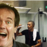 That is actually Barack Obama behind me. We're working out together… well, not together, but in the same fitness center at the same time. I think he's taking a photo of me, Tim Jones, the famous Humor Blogger. It took all my willpower to resist hugging him and crying that I missed him. So, I settled for a kiss.