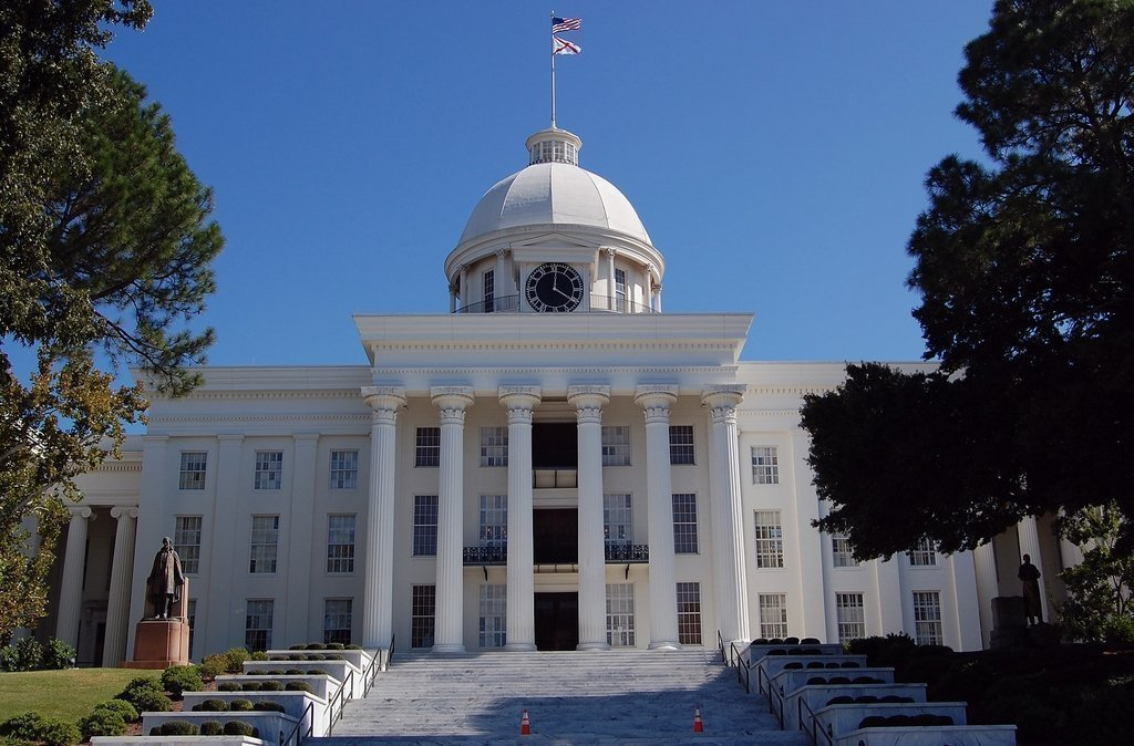 This is the Alabama State Capitol, where the State Legislature recently enacted the nation's strictest anti-abortion law. A bill that would terminate black voting rights narrowly failed to pass.