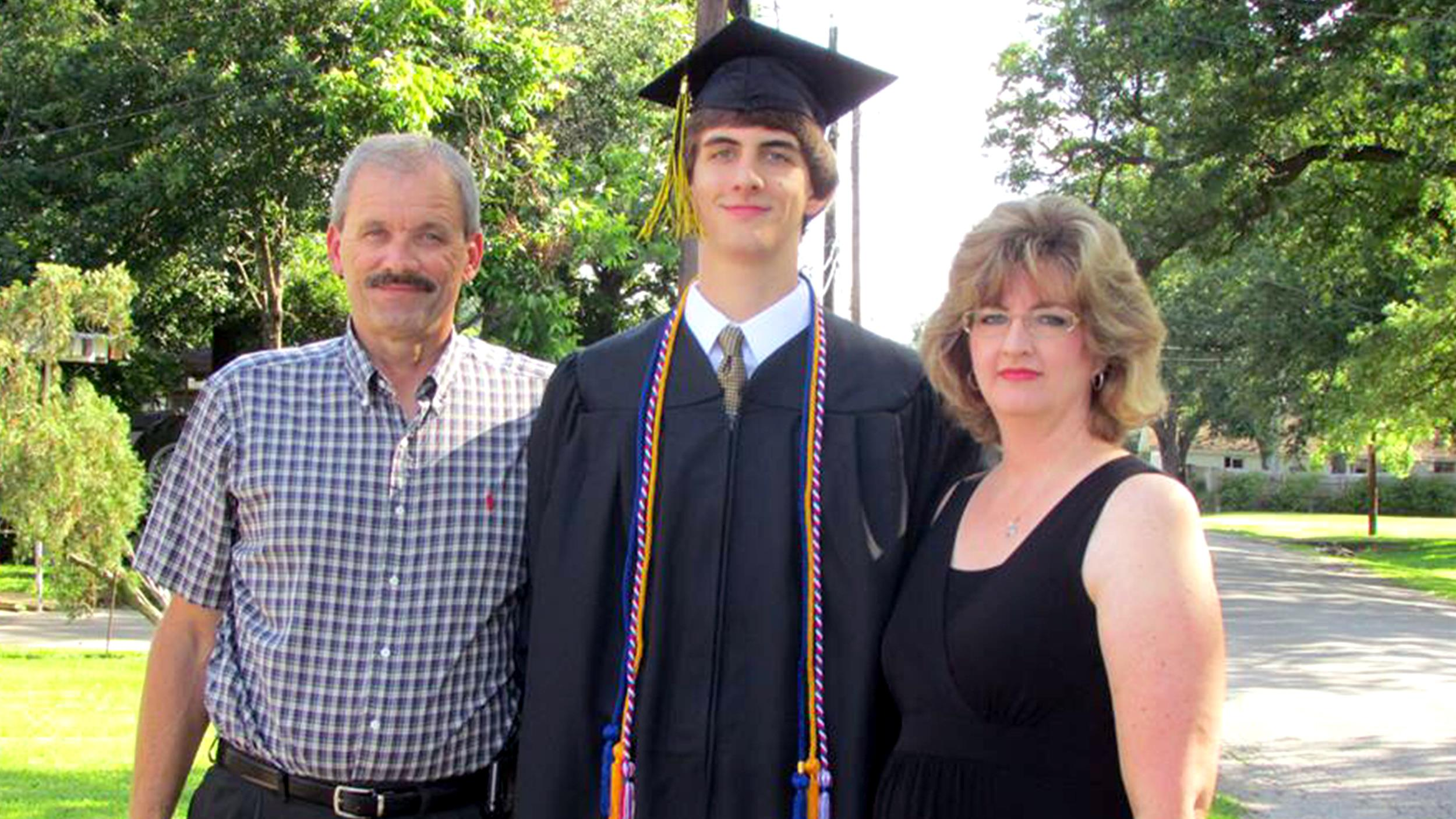 "These are the proud parents of Joey Grimaldi. He graduated with a 2.3 GPA and was voted ""Most Likely to Succeed – with the Babes."" He's decided to forgo college for a gap year as he entertains his options – both stock and dating. To fund this venture, he plans to live at home and ask his parents for a raise in his allowance."