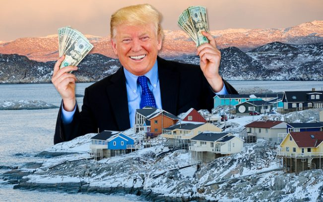 "President Trump announces his latest deal: Trump Greenland. ""Denmark's loss is MY gain. Come join me and let's MAKE GREENLAND GREEN AGAIN!"""