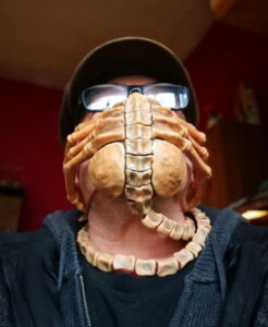The ALIEN FACEHUGGER mask. In addition to preventing the spread of the Coronavirus, it offers the added ability to prevent any intimate contact with the opposite sex.