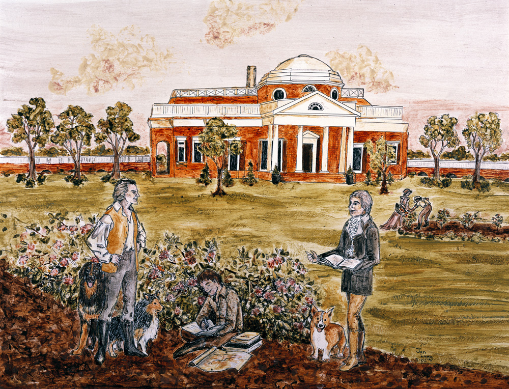 One of many drawings and paintings of Jefferson's beloved home, Monticello. That's Jefferson on the left, tending to his crops, and Bradley at right, asking his dad if he could lend him $5 until Tuesday.