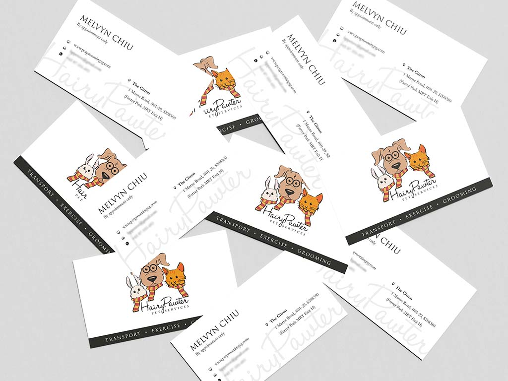 Name card design for pet grooming singapore freelance designer